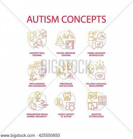 Autism Spectrum Disorder Concept Icons Set. Developmental Disabilities Idea Thin Line Color Illustra