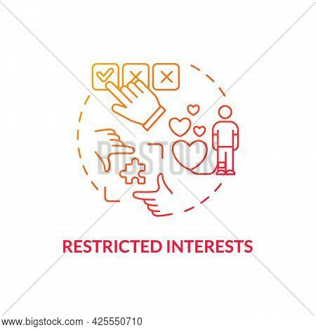 Restricted Interests Concept Icon. Autism Symptom Abstract Idea Thin Line Illustration. Highly Attac