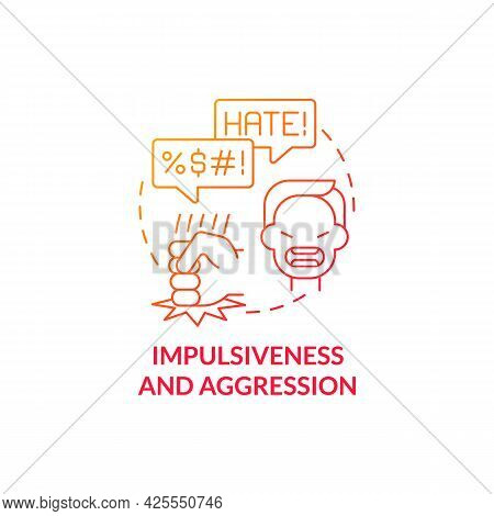 Aggressive And Impulsive Behaviors Concept Icon. Autism Sign Abstract Idea Thin Line Illustration. N