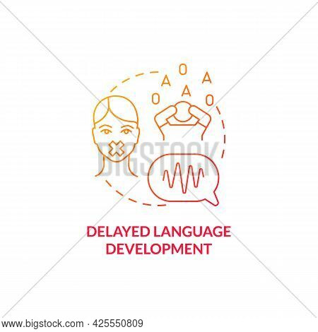 Delayed Language Development Concept Icon. Autism Sign Abstract Idea Thin Line Illustration. Express