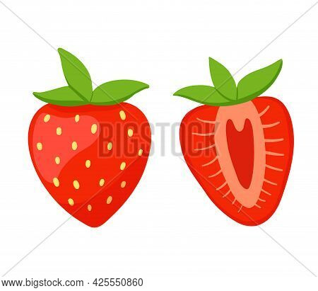 Red Berry Strawberry And A Half Of Strawberry With Green Leaves Isolated On White Background. Vector