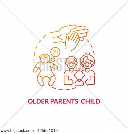 Older Parents Child Concept Icon. Autism Risk Factor Abstract Idea Thin Line Illustration. Increased