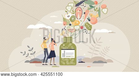 Dietary Supplements As Extracted Food Nutrients In Pills Tiny Person Concept. Vitamins, Minerals, Fi
