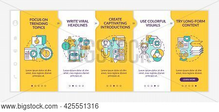 Buzzworthy Content Creation Tips Onboarding Vector Template. Responsive Mobile Website With Icons. W