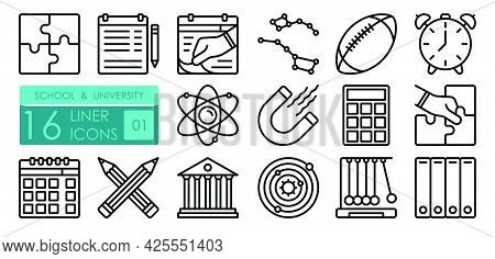 University Linear Icons Set. Structure Of Atom, Calculator. Physical Education Lessons, Astronomy. S