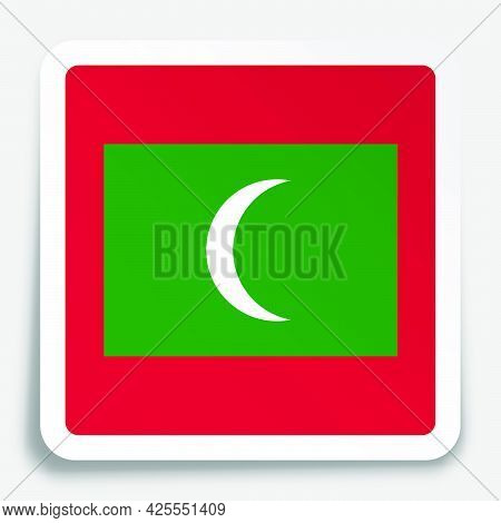 Maldives Flag Icon On Paper Square Sticker With Shadow. Button For Mobile Application Or Web. Vector