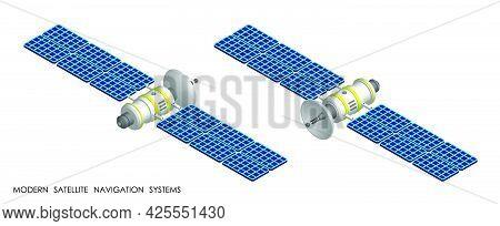 Isometric Satellite With Open Solar Panels Fly And Transmit Communication Signal. Satellite Communic