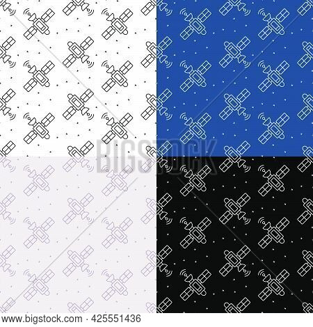 Set Of Seamless Patterns With Satellite Fly And Transmit Communication Signal. Ornament For Decorati