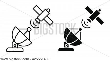 Linear Icon. Satellite Fly And Transmit Communication Signal To Radio Antenna. Satellite Communicati