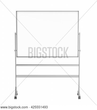 Front View Of Mobile School Whiteboard, Isolated On White Background. 3d Illustration