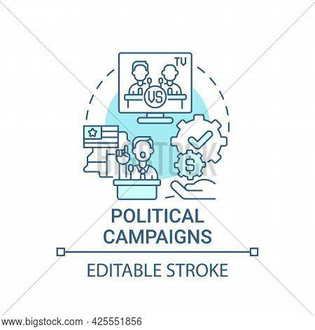 Political Campaigns Fundraiser Concept Icon. Fundraising Abstract Idea Thin Line Illustration. Speci