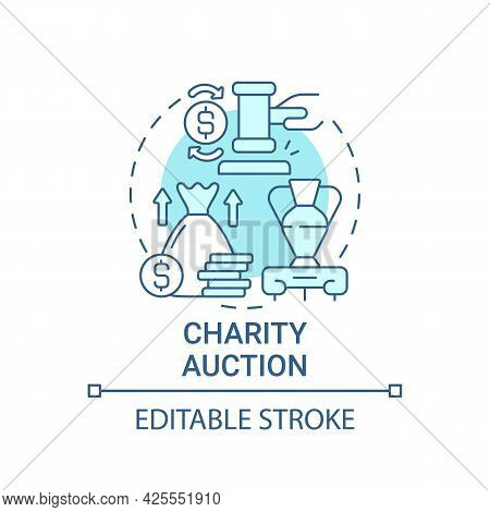Charity Auction Concept Icon. Fundraising Event Abstract Idea Thin Line Illustration. Selling Rare E