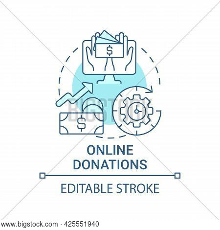 Online Donations Concept Icon. Fundraising Event Abstract Idea Thin Line Illustration. Mobile, Compu