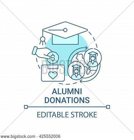 Alumni Donations Concept Icon. Fundraising Appeal Abstract Idea Thin Line Illustration. Donating Fin