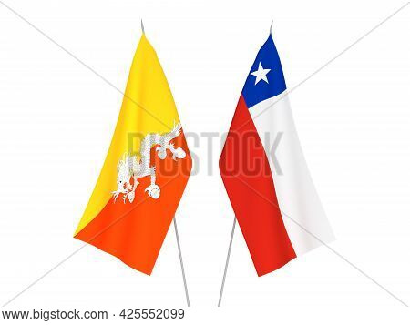 National Fabric Flags Of Chile And Kingdom Of Bhutan Isolated On White Background. 3d Rendering Illu