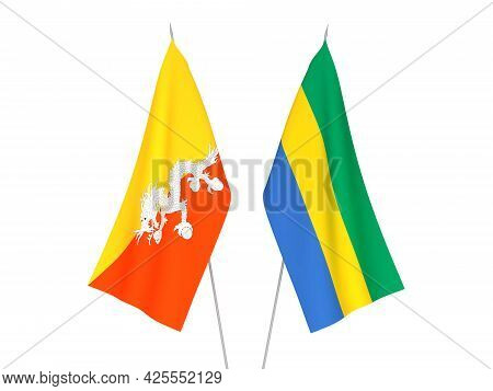 National Fabric Flags Of Gabon And Kingdom Of Bhutan Isolated On White Background. 3d Rendering Illu