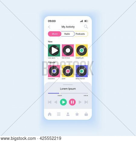 Playing Music Albums And Playlists Smartphone Interface Vector Template. Enjoy Lossless Audio. Mobil