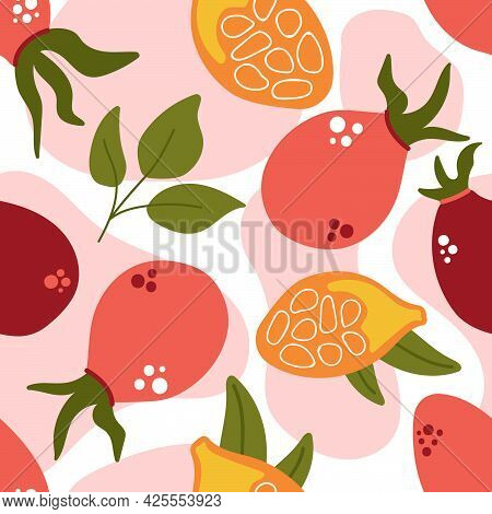 Seamless Pattern Of Rose Berry With Leaves, Rose Hip Berries. Modern Flat Illustration.