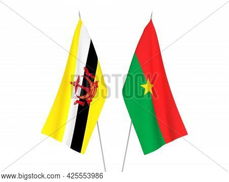 National Fabric Flags Of Burkina Faso And Brunei Isolated On White Background. 3d Rendering Illustra