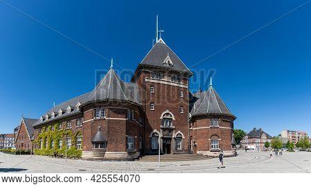 Aarhus, Denmark - 8 June, 2021: View Of The Historic Customs House In The Harbor Of Aarhus