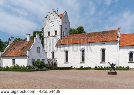 Hoor, Sweden - 19 June, 2021: View Of The Castle Courtyard And Church At The Historic Bosjokloster N