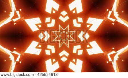 Orange Star Shaped Ornament 4k Uhd 3d Illustration