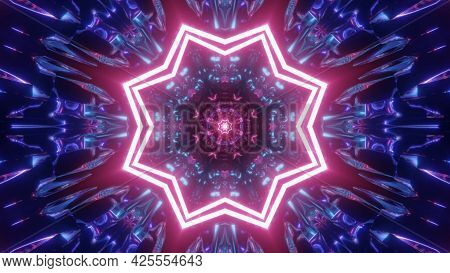 Star Shaped Tunnel With Abstract Ornament 4k Uhd 3d Illustration