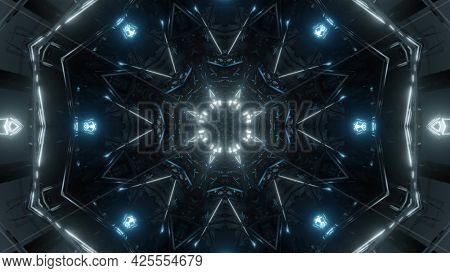 Futuristic Tunnel With Neon Lights 4k Uhd 3d Illustration
