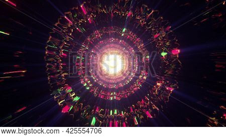 Dark Tunnel With Psychedelic Ornament 4k Uhd 3d Illustration