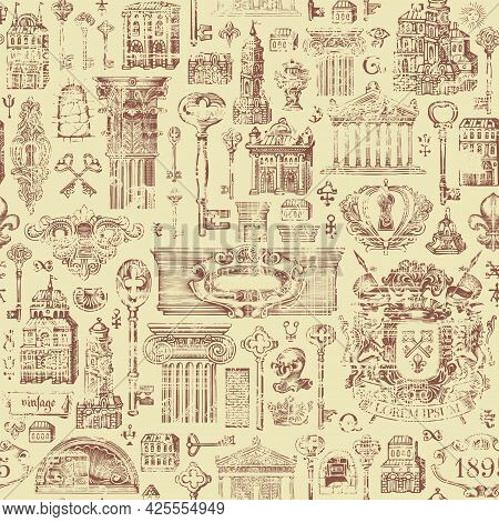 Hand-drawn Seamless Pattern On A Theme Of Ancient Architecture And Art. Abstract Vector Background I