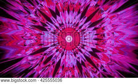 4k Uhd 3d Illustration Of Kaleidoscopic Pink Ornament