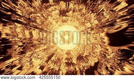 4k Uhd 3d Illustration Of Golden Tunnel With Round Ornament