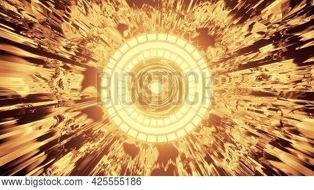 Golden Round Tunnel 4k Uhd 3d Illustration
