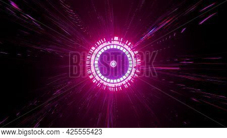 Neon Circle With Pink Beams 4k Uhd 3d Illustration