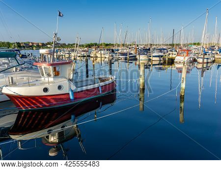 Middelfart, Denmark - 8 June, 2021: Colorful Motorboats And Sailboats In The Marina And Yacht Harbor