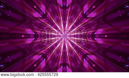 Abstract Pink Ornament With Rays 4k Uhd 3d Illustration