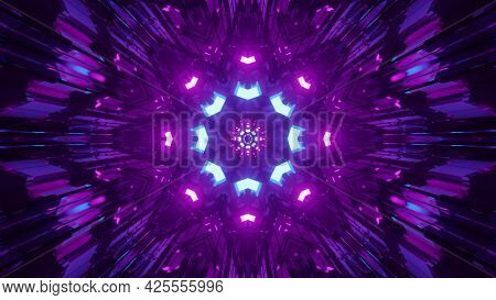 Abstract Tunnel With Bright Lamps 4k Uhd 3d Illustration