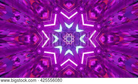 Purple Star Shaped Ornament 4k Uhd 3d Illustration