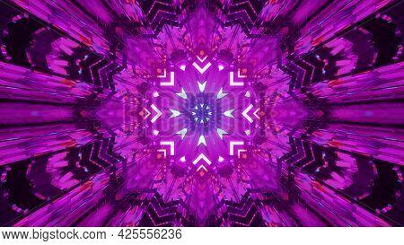 Purple Neon Kaleidoscopic Ornament 4k Uhd 3d Illustration