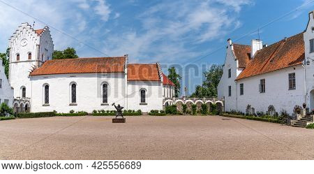 Hoor, Sweden - 19 June, 2021: Panorama View Of The Bosjokloster And Castle In Southern Sweden