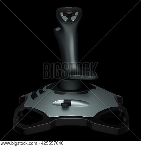 Realistic Joystick For Flight Simulator Isolated On Black Background. 3d Rendering Of Streaming Gear