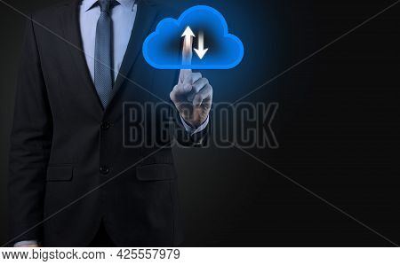Businessman Hold Cloud Icon.cloud Computing Concept - Connect Smart Phone To Cloud. Computing Networ