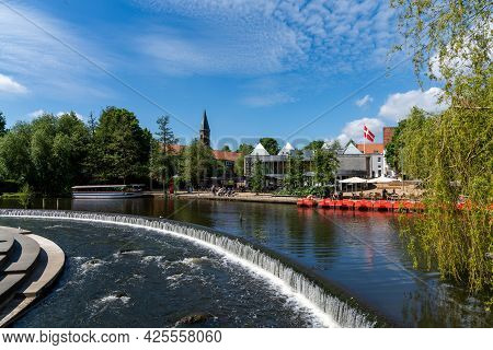 Odense,denmark - 9 June, 2021: View Of Downtown Odense And The Odense River On A Beautiful Summer Da