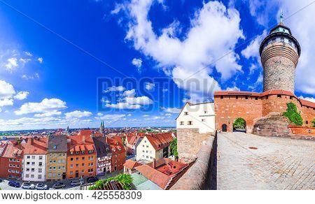 Nuremberg, Germany. View Of Kaiserburg And Sinwell Tower In Nuremberg Old Town In Franconia, Bavaria