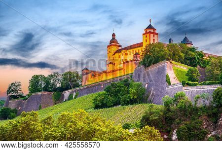 Wurzburg, Germany. Beautiful Medieval  Marienberg Fortress On Famous
