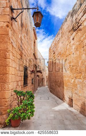 Mdina, Malta - Cobblestone Street In Medieval Fortified City Of Mdina, Old Capital Of The Island.