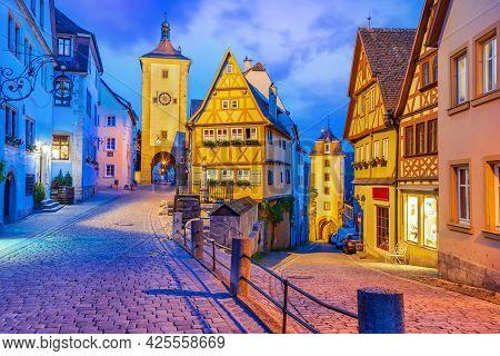 Rothenburg Ob Der Tauber, Bavaria, Germany. Beautiful Postcard View Of Ploenlein With Siebers Tower