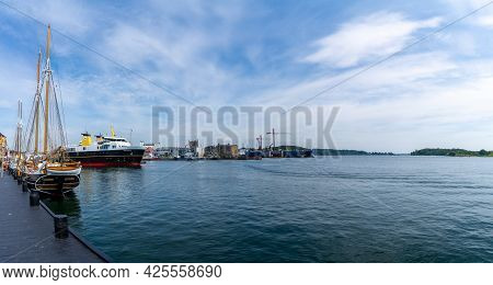 Svendborg, Denmark - 10 June, 2021: Panorama View Of The Ferry Docking At The Ferry Terminal In Sven