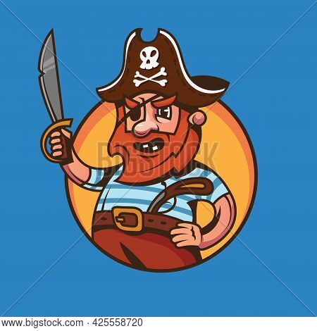 One Eyed Ship Captain. Pirate Concept Art In Cartoon Style.