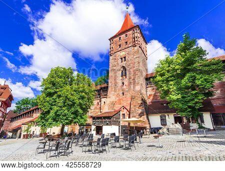 Nuremberg, Germany. View Of Kaiserburg And Tiergartnertor Square In Nuremberg Old Town In Franconia,